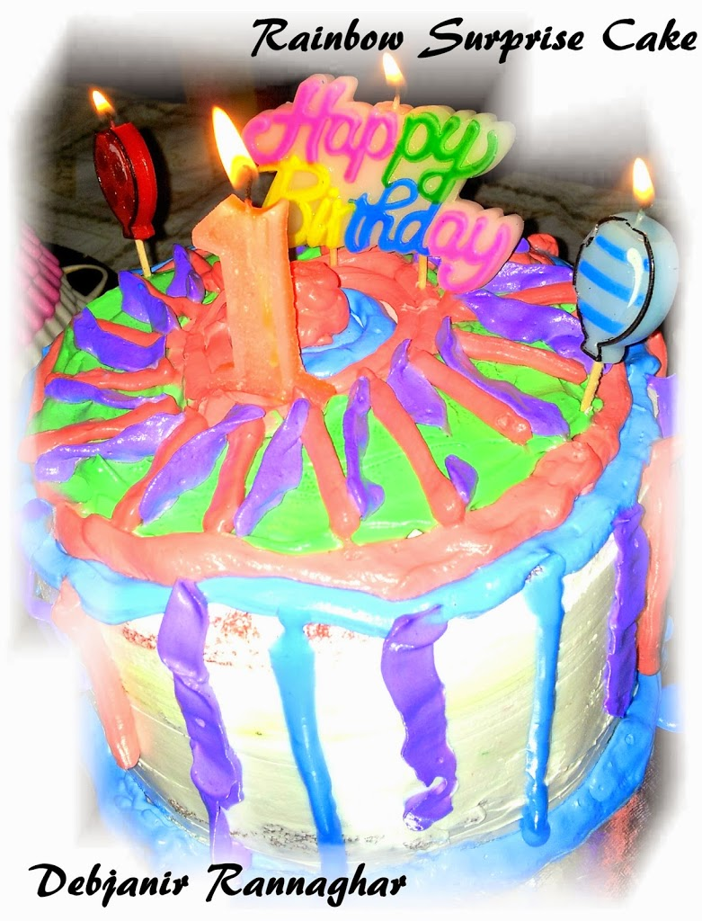 Rainbow Surprise Cake Debjanir Rannaghar