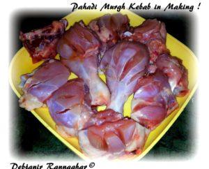 %Cutting chicken for Pahadi Murgh Kebab
