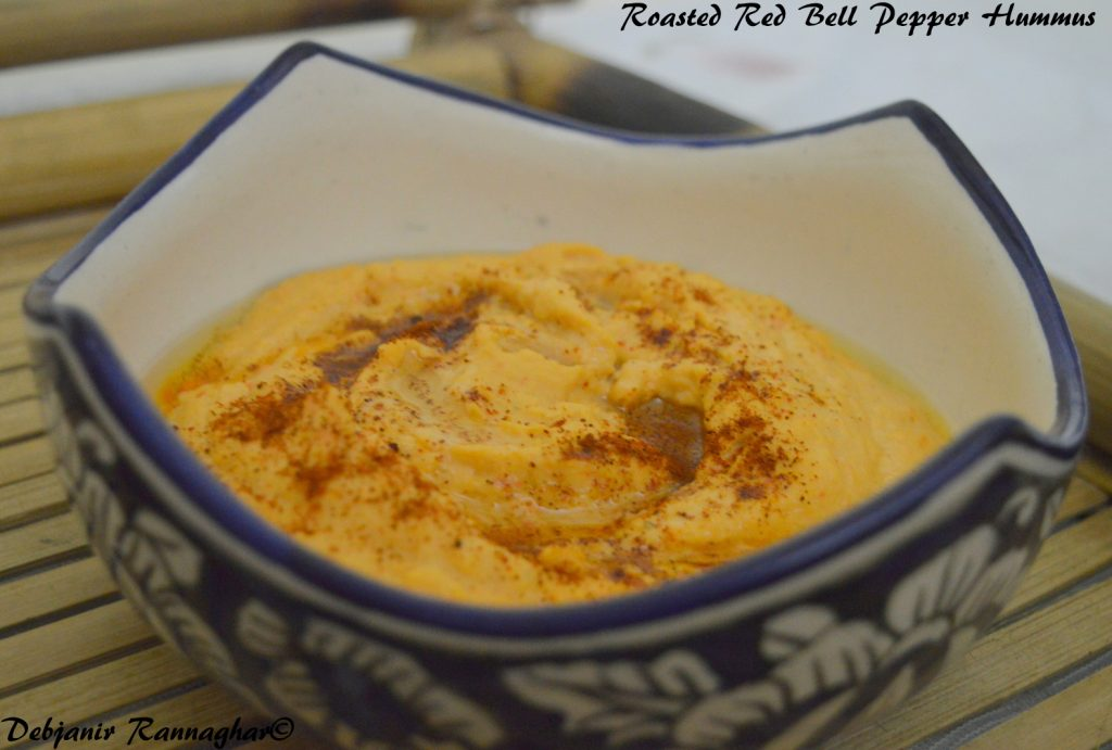 Roasted Red Bell Pepper Hummus - Debjanir Rannaghar