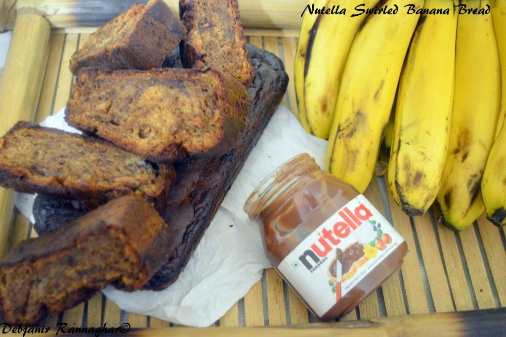 Nutella Swirled Banana Bread - Debjanir Rannaghar