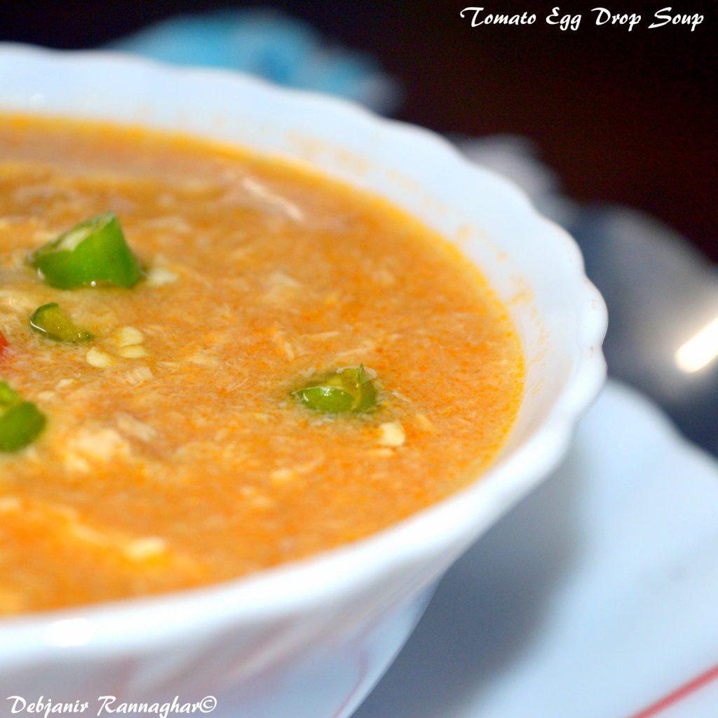 Tomato Egg Drop Soup - Debjanir Rannaghar