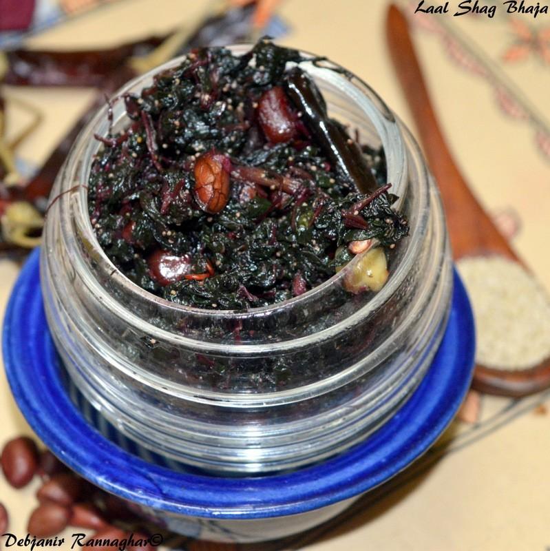 Laal Shag Bhaja | Stir-fried Red Amaranth Leaves