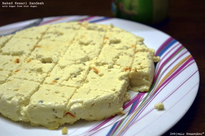 Baked Kesari Sandesh with Sugar Free Diet Sugar | Bhapa Sandesh