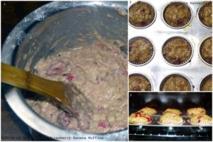 %Baking Whole Wheat Strawberry Banana Muffins how to