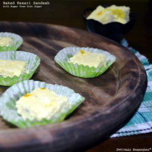 Baked Kesari Sandesh with Sugar Free Diet Sugar - Debjanir Rannaghar