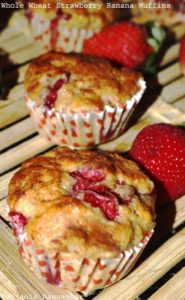 %Whole Wheat Banana Strawberry Muffins Indian Recipe