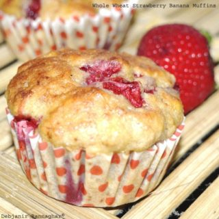 %Whole Wheat Strawberry Banana Muffins Recipe Indian