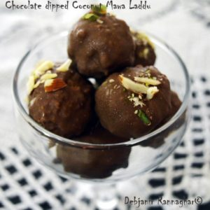 %Chocolate dipped Coconut Mawa Naru Recipe