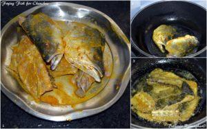 %Frying Fish head for making Chancha