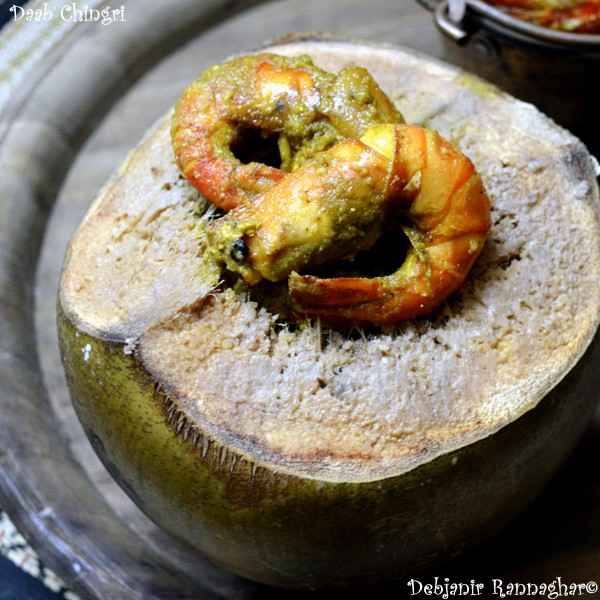 Daab Chingri | Prawn Cooked in Tender Coconut