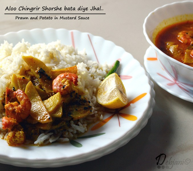 Aloo Chingrir Shorshe Bata Diye Jhal (A light curry with Prawn and Potato Wedges)