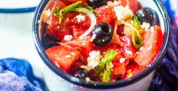 Watermelon, Black Olive and Feta Cheese Salad, a working woman's working lunch in summer!