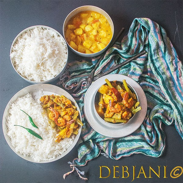 %Kitchen of Debjani Pui Chingri recipe