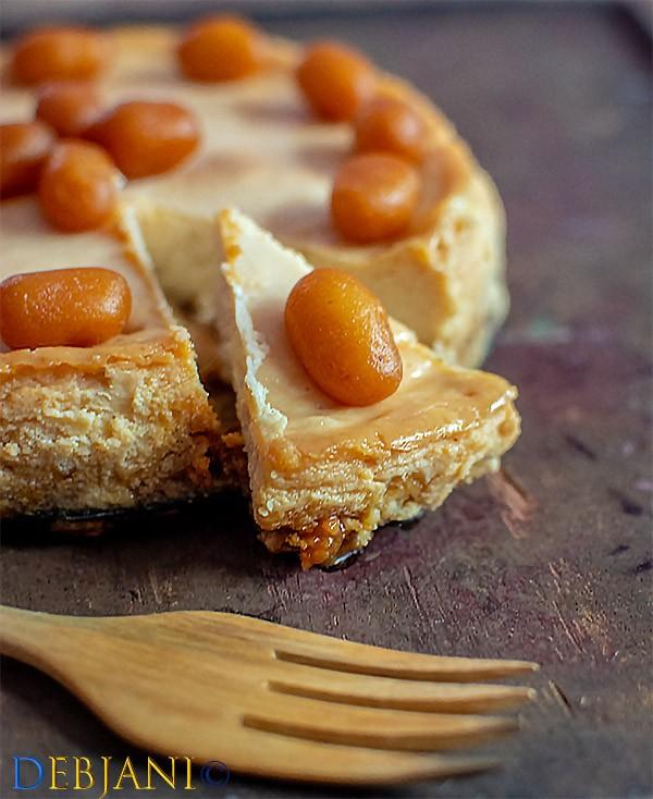 %Soan Papdi and Mishti Doi Baked Cheesecake