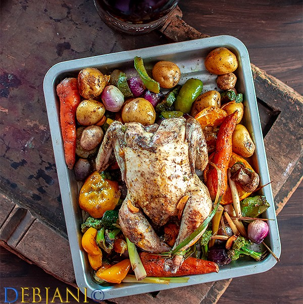 %Slow Roasted Chicken with Orange and Veggies